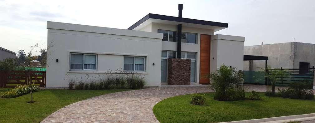 Vivienda Unifamiliar en Barrio Cerrado: Casas unifamiliares de estilo  por MONARQ ESTUDIO