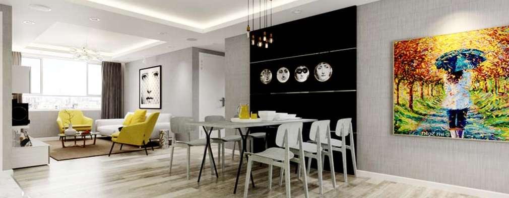 thiết kế Căn hộ sang trọng, thiết kế nội thất hiện đại, tinh tế.:  Phòng ăn by CÔNG TY THIẾT KẾ NHÀ ĐẸP SANG TRỌNG