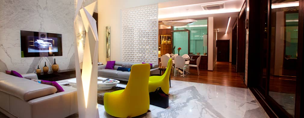 Indra hira bungalow: modern Living room by Innerspace