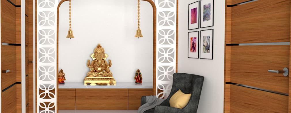 pooja room design:   by interior and furniture design