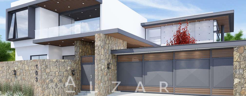 Fachada Principal.: Casas unifamiliares de estilo  por Álzar