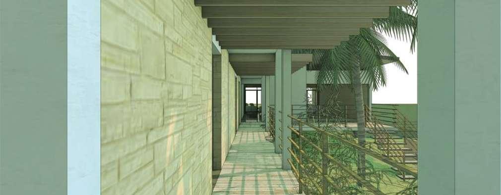 CASA GUASACATE: Pasillos y recibidores de estilo  por Fstudio Arquitectura