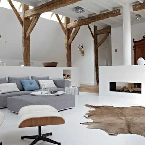 Villa Borkeld: landelijke Woonkamer door reitsema & partners architecten bna