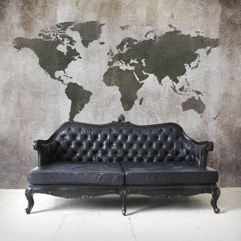 Worldmap Concrete:  Woonkamer door BN International