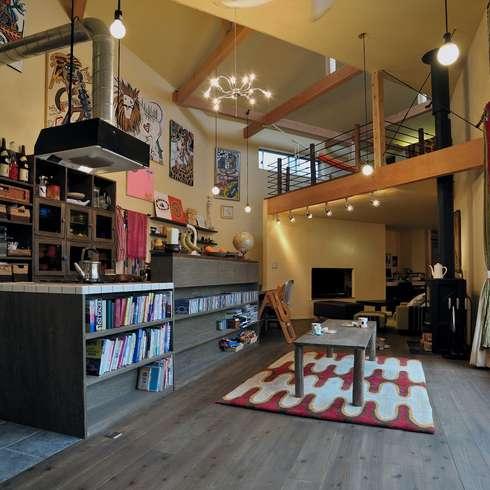 Projekty,  Salon zaprojektowane przez eu建築設計