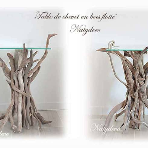 Table de chevet en bois flotté: Maison de style  par Natydeco