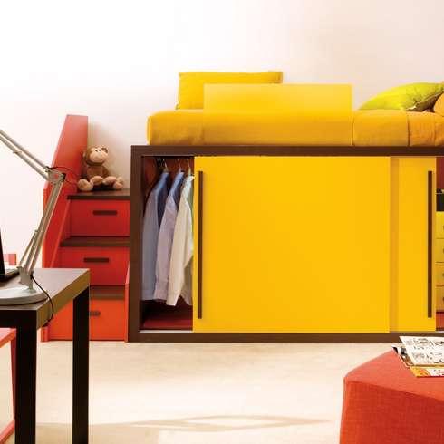 hochbett im kinderzimmer mit dem raumwunder hoch hinaus. Black Bedroom Furniture Sets. Home Design Ideas
