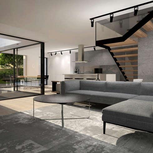 Einfamilienhaus L : Minimalistische Wohnzimmer Von Innenarchitektur | Ina  Nimmrichter