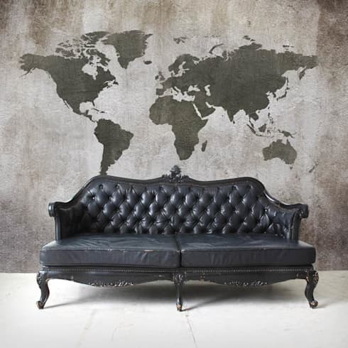 Worldmap Concrete: moderne Woonkamer door BN International