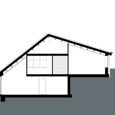 Doorsnede: landelijke Huizen door stripesarchitects