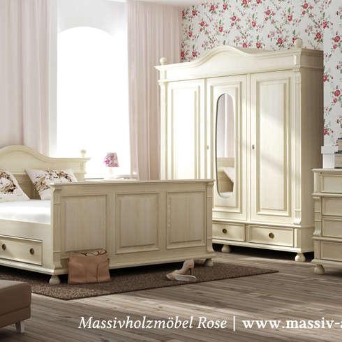 landhausschrank in antik wei landhausstil schlafzimmer von massivholzmbel rose - Kleiderschrank Massivholz Antik Wei