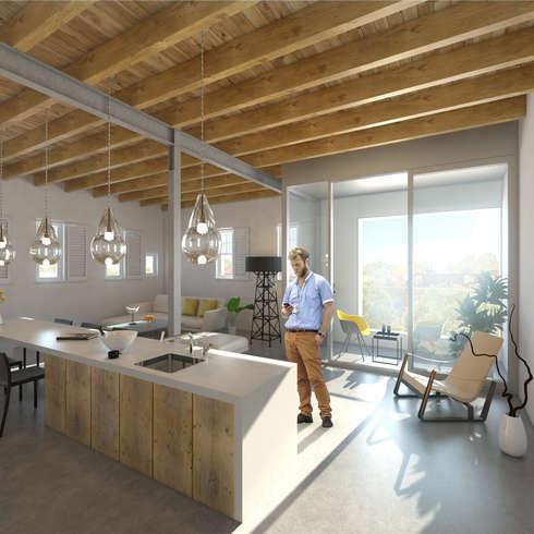 Het Kaaspakhuis: moderne Woonkamer door Mei architects and planners