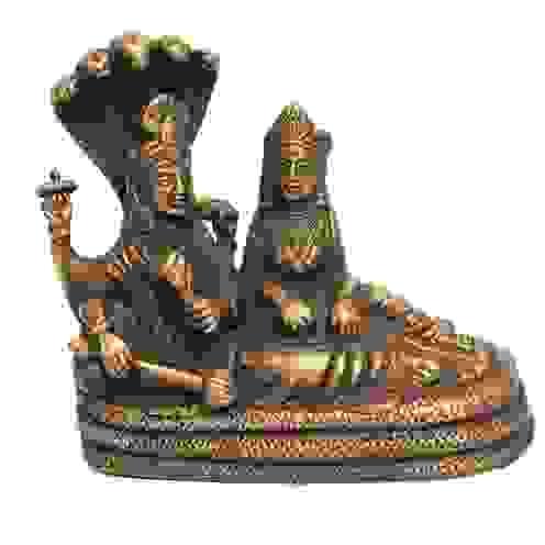Lord Laxmi Narain Brass Statue /Natural Finish /Religious Sculptures/ Hindu Trinity Preserver God/ Collectible/ Indian Hindu God Idol Gifts M4design ArtworkSculptures
