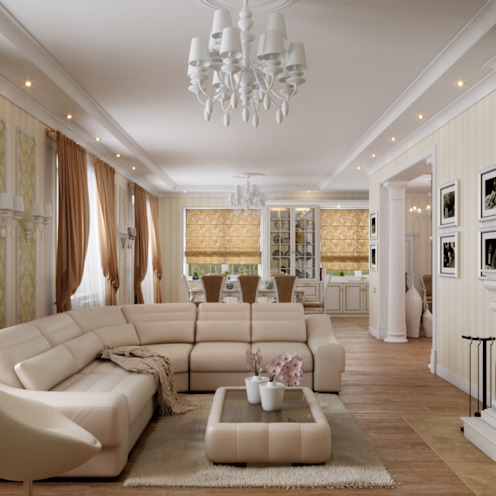Salones de estilo clásico de Студия дизайна 'New Art' Clásico