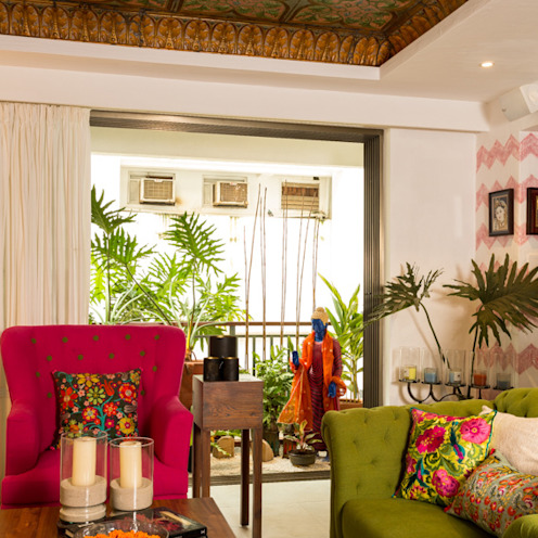 Eclectic Apartment The Orange Lane Livings de estilo asiático