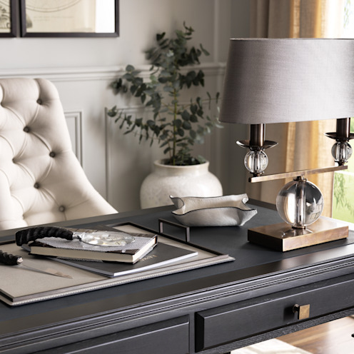 SS16 Style Guide - Coastal Elegance - Home Office/Study LuxDeco Country style study/office Beige