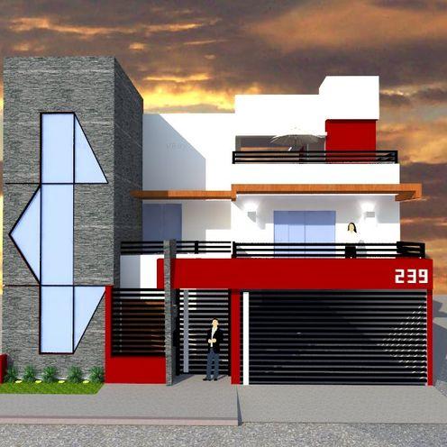 FACHADA PRINCIPAL ROJAS Arquitectura Diferente Casas modernas