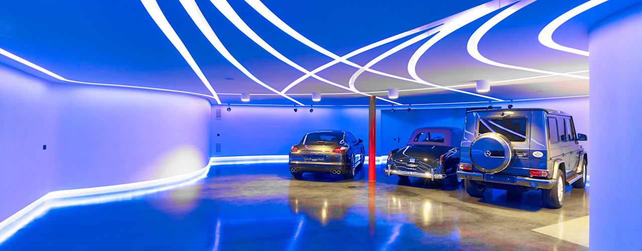 Private Garage and party room Garajes y galpones de estilo moderno de Tobias Link Lichtplanung Moderno