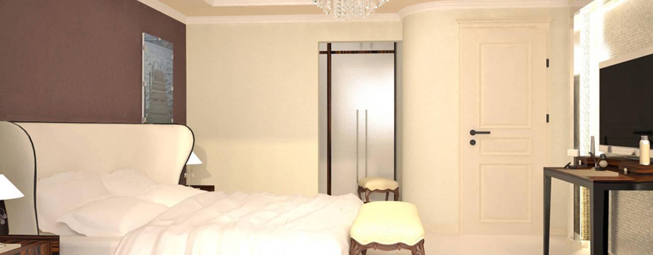 """Innenarchitektonische Neugestaltung Apartment """"T.V."""" - Wolgograd, Russland:  Schlafzimmer von GID│GOLDMANN-INTERIOR-DESIGN - Innenarchitekt in Sehnde,"""