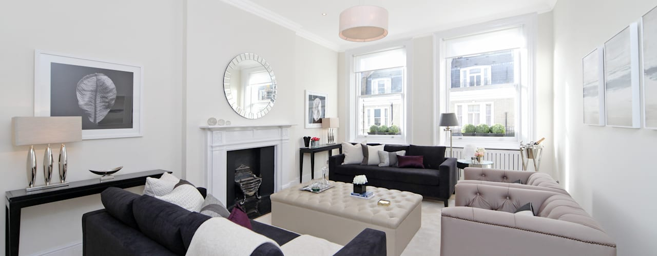 City appartment:  Living room by Hampstead Design Hub,