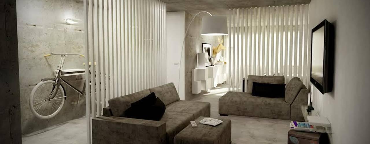 غرفة المعيشة تنفيذ Santiago | Interior Design Studio , صناعي