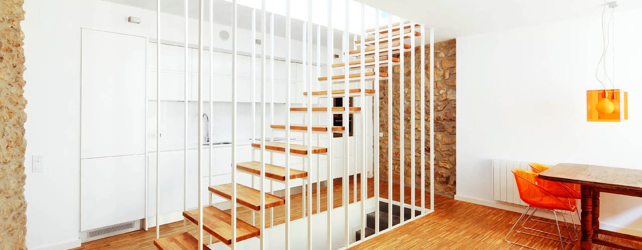 Couloir, entrée, escaliers modernes par M2ARQUITECTURA Moderne