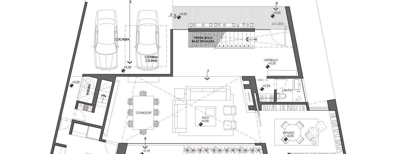 Casa EV:  de estilo  por ze|arquitectura