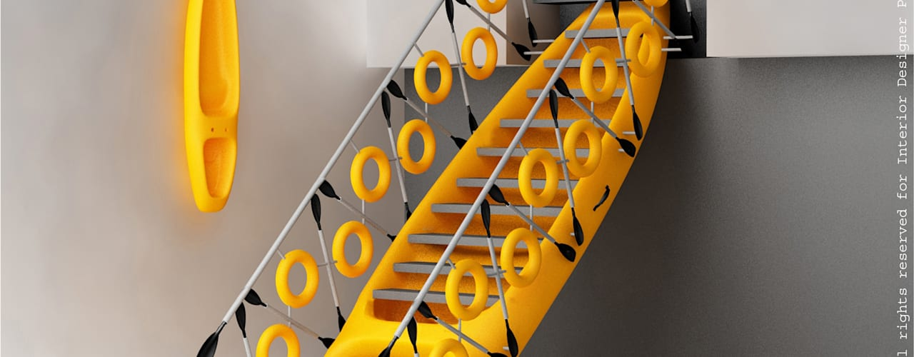 Kayak staircase yellow:  Corridor & hallway by Preetham  Interior Designer