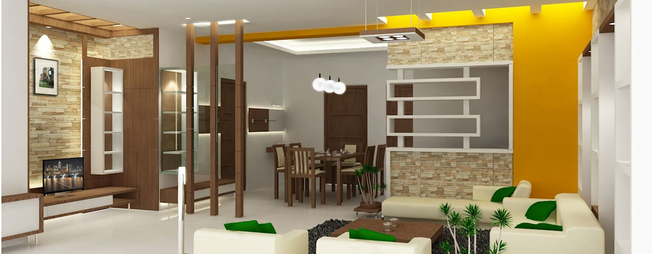 Living spaces:  Living room by Preetham  Interior Designer