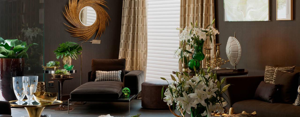 غرفة المعيشة تنفيذ Brunete Fraccaroli Arquitetura e Interiores, حداثي