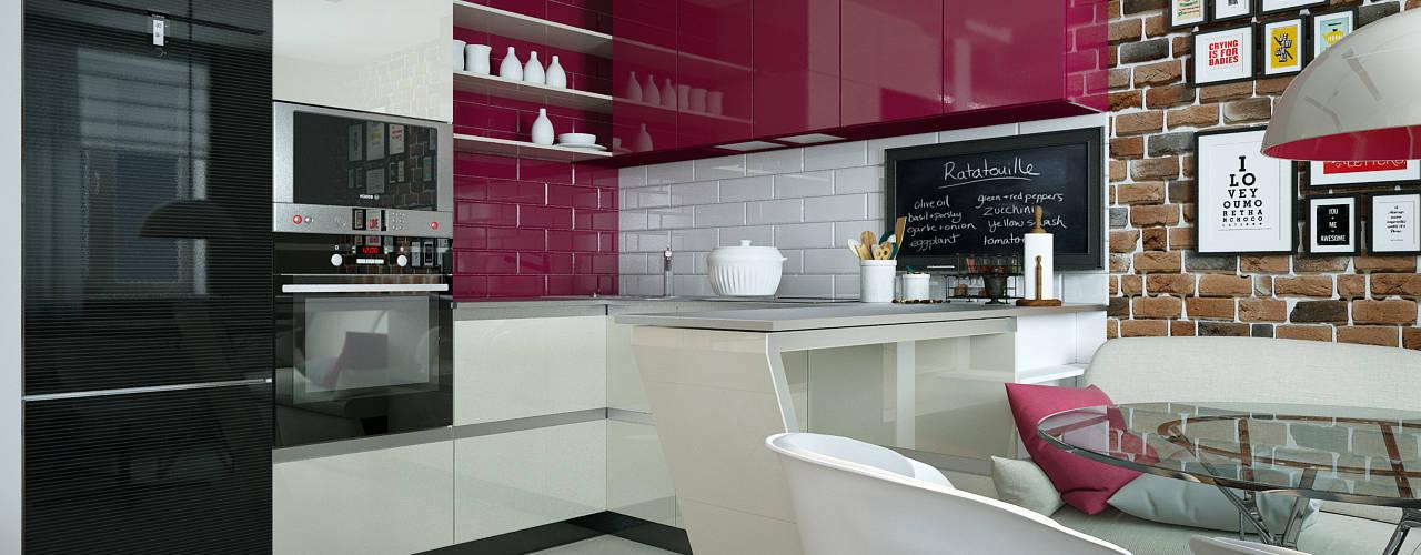 Проект квартиры для молодоженов 'PRimeART' Кухня в стиле минимализм