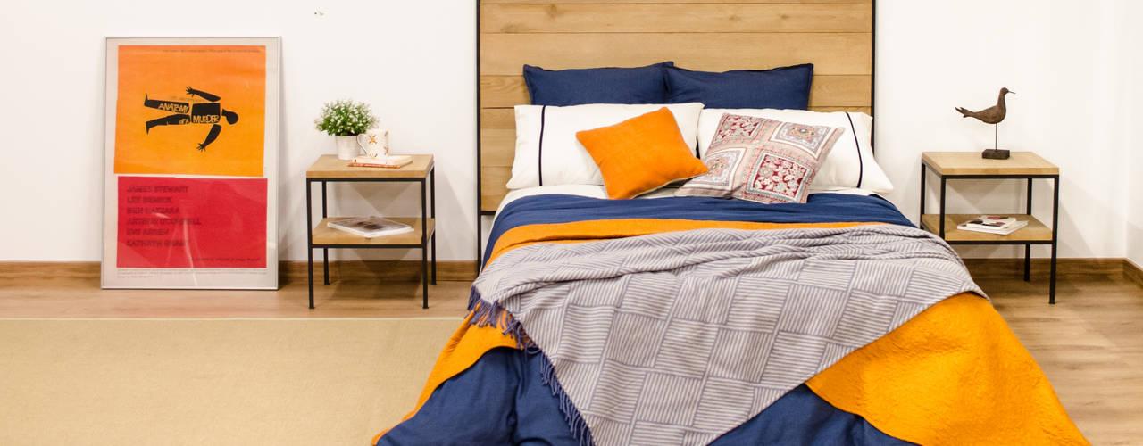 Dormitorio de estilo industrial en madera maciza de roble y acero Cube Deco Dormitorios de estilo industrial