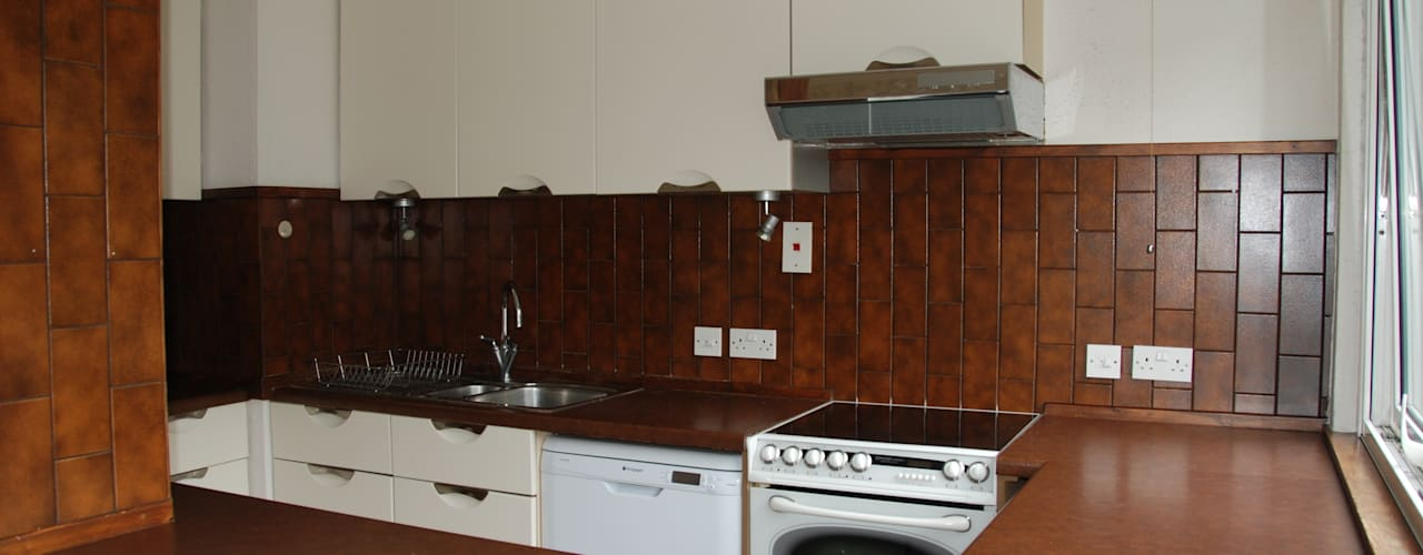 Before photo of cooker and oven:   by The Kitchen Makeover Shop Ltd