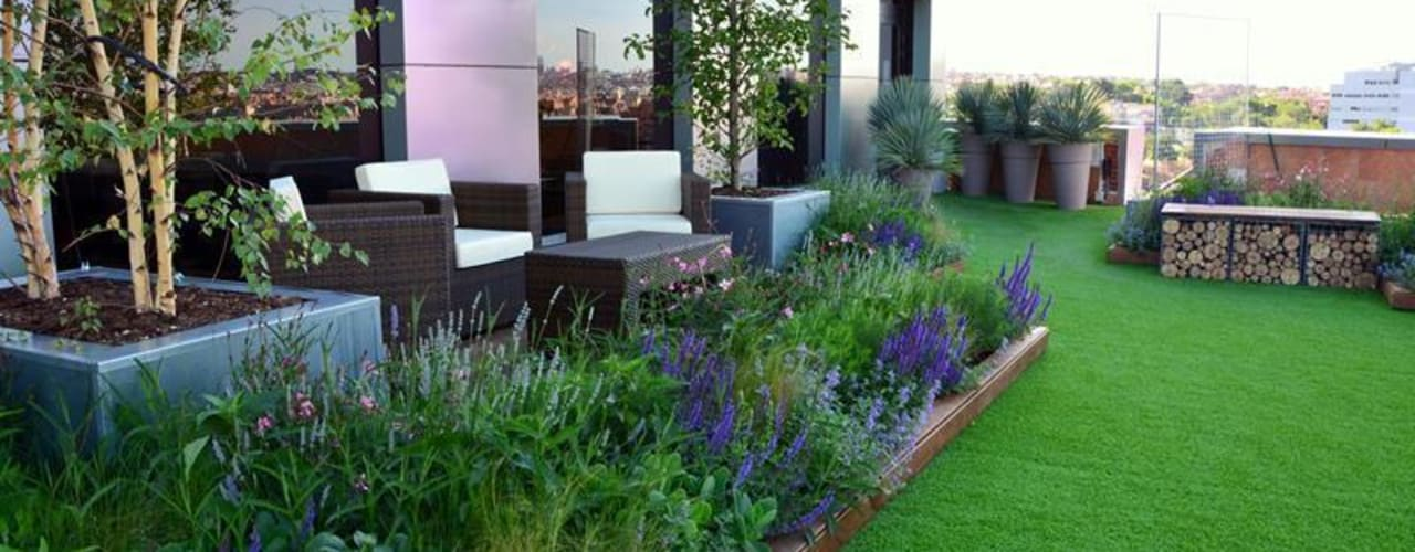 Terraza relax en Marid La Paisajista - Jardines con Alma Edificios de oficinas de estilo moderno