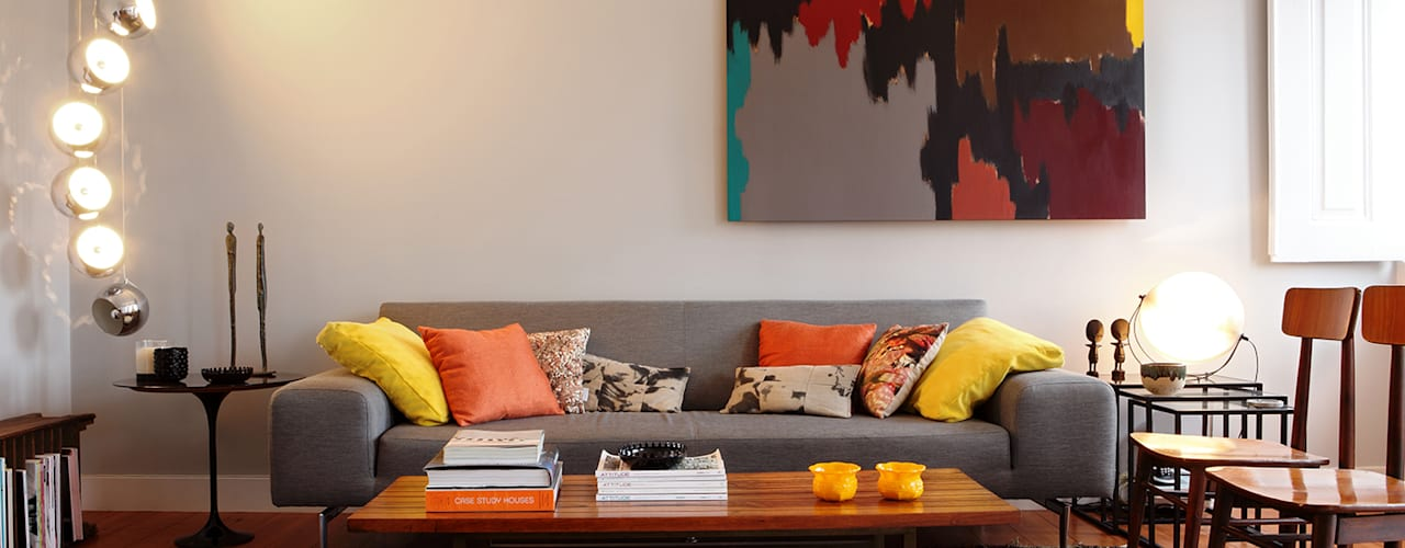 Apartamento A3_Reabilitação Arquitectura + Design Interiores Salas de estar ecléticas por Tiago Patricio Rodrigues, Arquitectura e Interiores Eclético