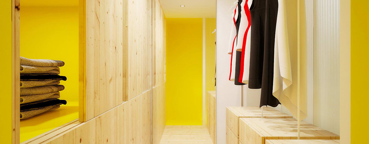 Dressing room by POINT. ARCHITECTS
