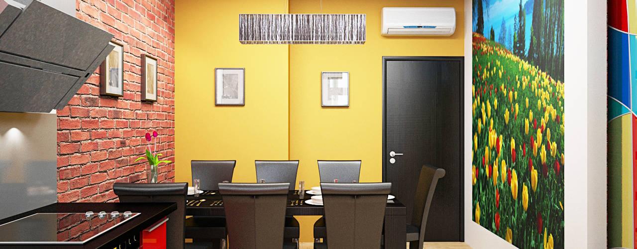 Industrial style dining room by Дизайн студия Александра Скирды ВЕРСАЛЬПРОЕКТ Industrial