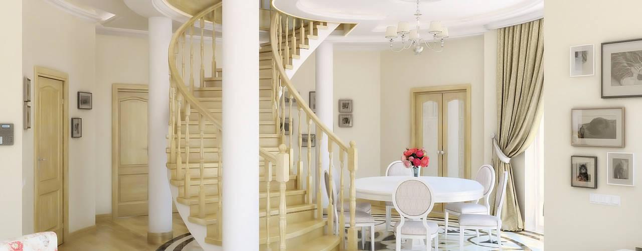 Дизайн студия Александра Скирды ВЕРСАЛЬПРОЕКТ Classic style corridor, hallway and stairs