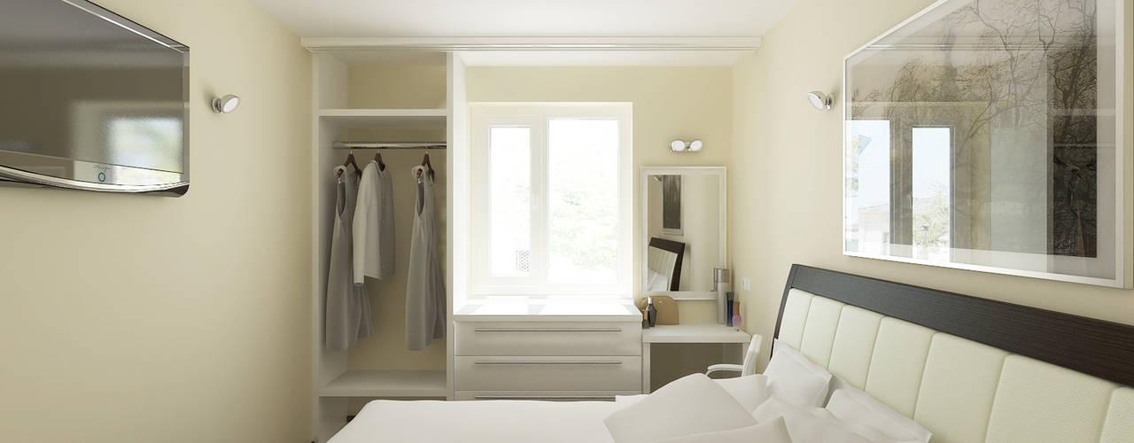 Переработка квартиры 1962 года: Спальни в . Автор – Дизайн студия Александра Скирды ВЕРСАЛЬПРОЕКТ