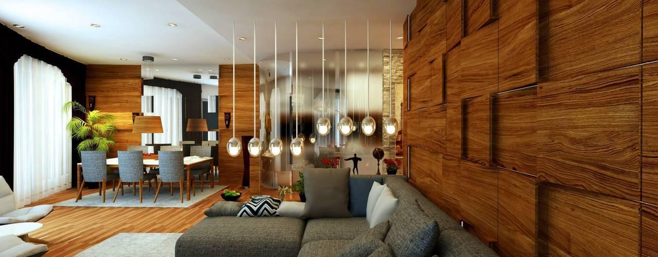GN İÇ MİMARLIK OFİSİ – Mall Of Istanbul Rezidans :  tarz Oturma Odası, Modern