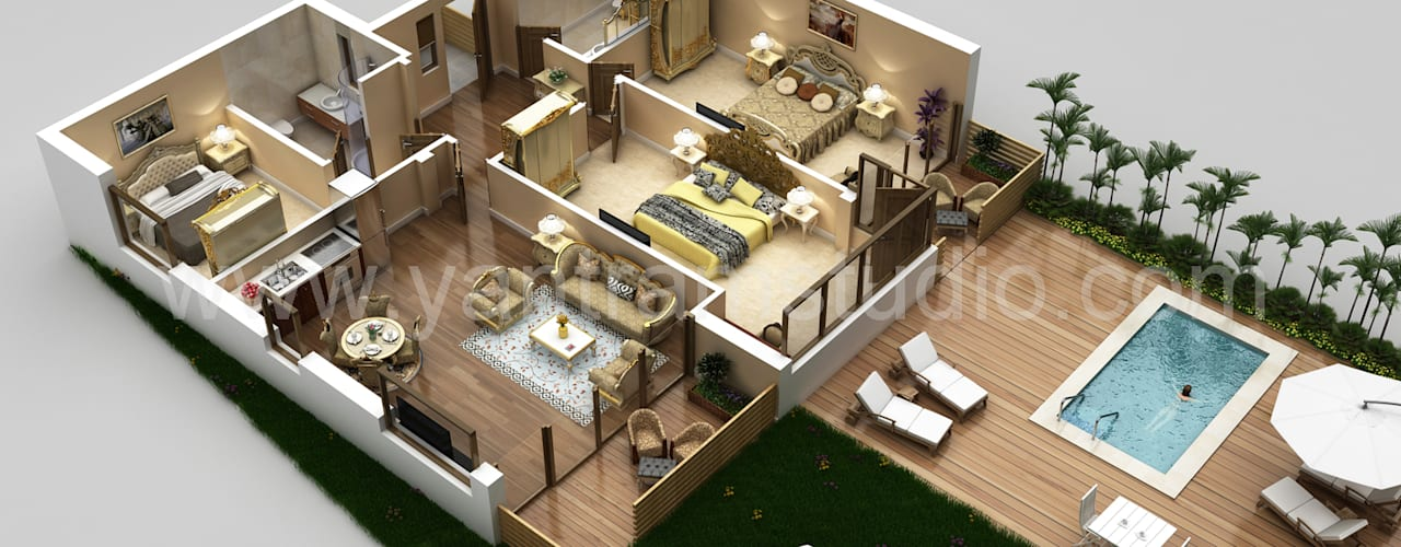3D Floor Plan Design de Yantram Architectural Design Studio