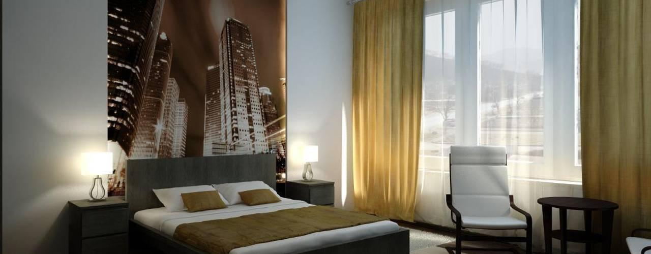 Minimalistische slaapkamers van Цунёв_Дизайн. Студия интерьерных решений. Minimalistisch