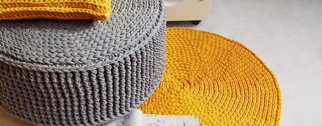 Handmade crochet rug, crochet carpet, round rug, knitted carpet, knitted rug, model COPENHAGEN de RENATA NEKRASZ art & design Escandinavo