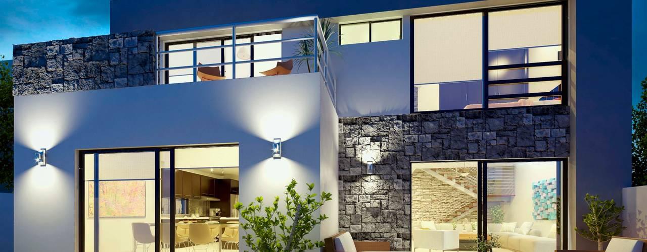 E2 Courtyard: Casas de estilo  por arQing