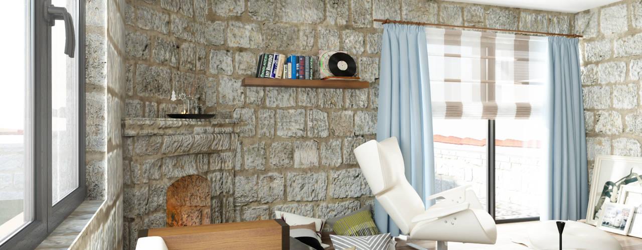Phòng khách phong cách Địa Trung Hải bởi ROAS ARCHITECTURE 3D DESIGN AGENCY Địa Trung Hải