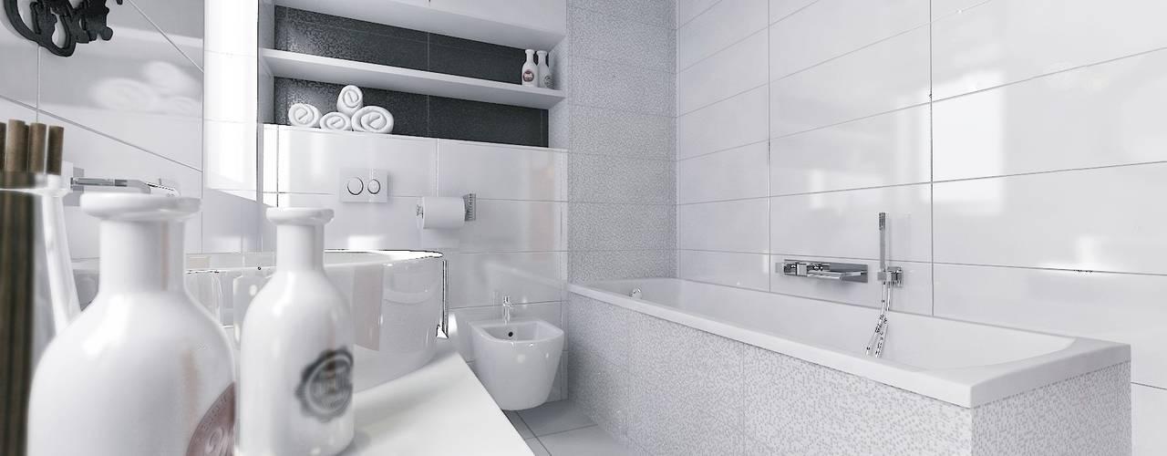 Łazienka BLACK & WHITE: styl , w kategorii Łazienka zaprojektowany przez D2 Studio