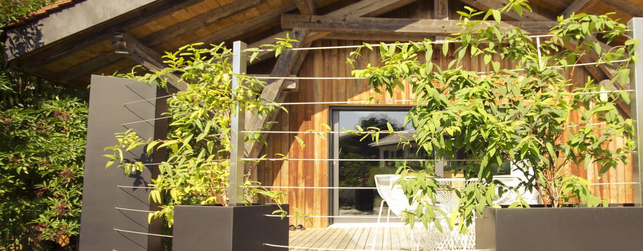 Combinaison de formes en Noir et Blanc pour plantes grimpantes Maisons originales par ATELIER SO GREEN Éclectique