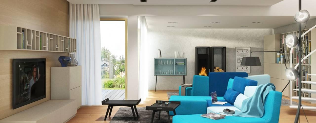 现代客厅設計點子、靈感 & 圖片 根據 Pracownia Projektowa ARCHIPELAG 現代風