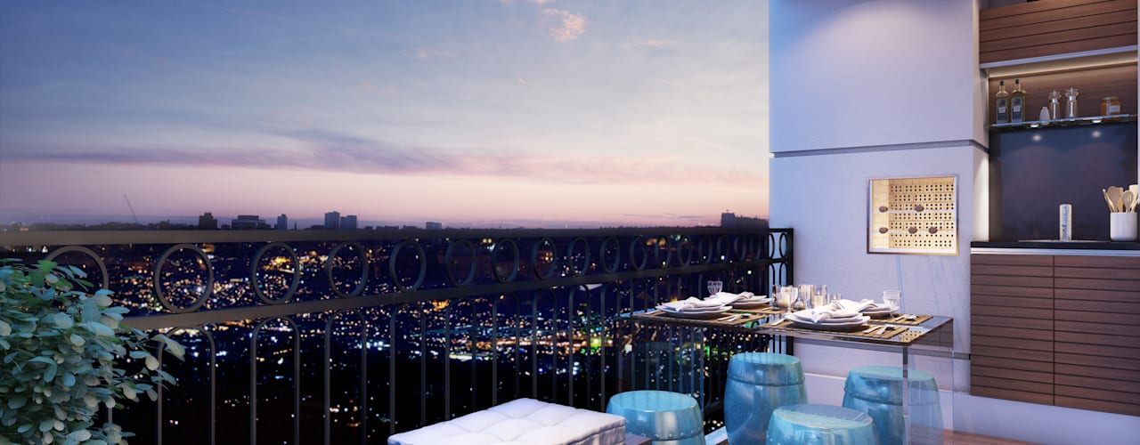 Moderner Balkon, Veranda & Terrasse von Lodo Barana Arquitetura e Interiores Modern