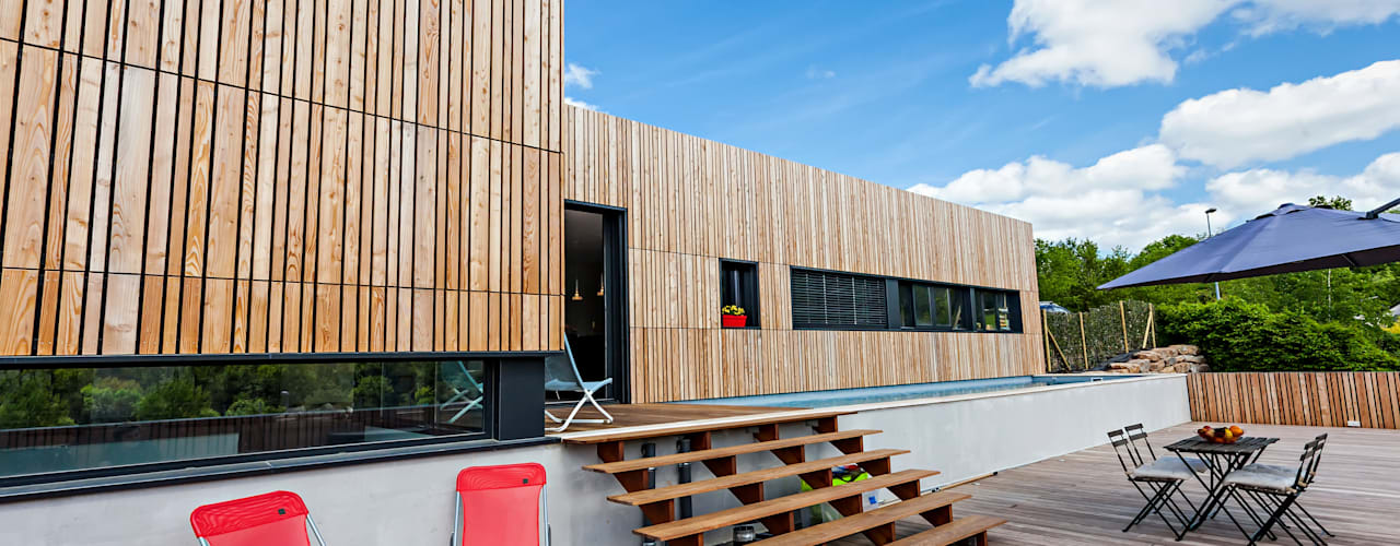 MAISON CARDAILLAC Balcon, Veranda & Terrasse minimalistes par Hugues TOURNIER Architecte Minimaliste
